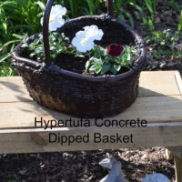 Dip your wicker basket in hypertufa concrete for the garden