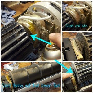 Don't throw out that tower fan, clean and lube fan motors, fix that non working fan