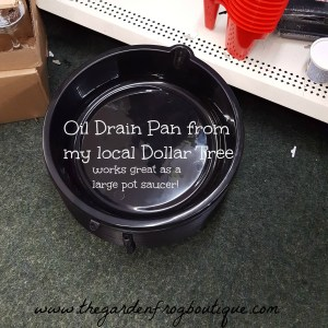 Gardening houseplant tip using a dollar store oil drain pan as a potted plant saucer