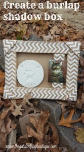 Create a burlap shadowbox using a burlap stretched canvas