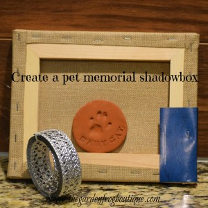 Create a pet memorial shadow box from a burlap canvas frame and ribbon