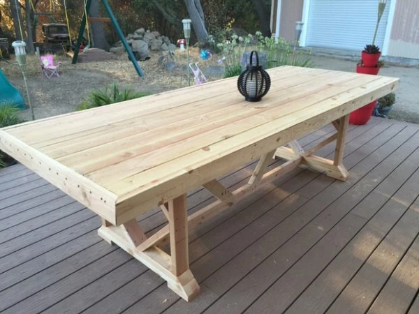 diy outdoor patio table DIY Outdoor Dining Table Projects | The Garden Glove
