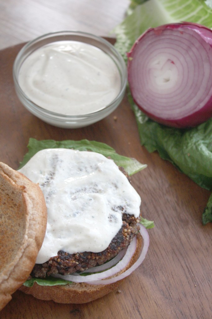 Black Bean and Quinoa Burgers with Roasted Jalapeno Ranch -- TheGarlicDiaries.com