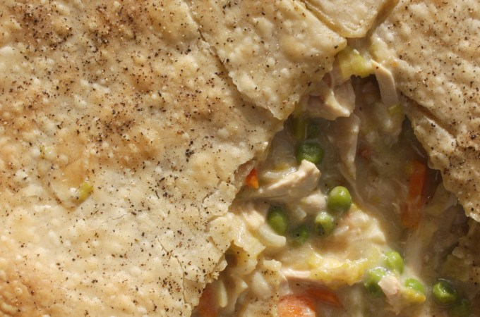 Chicken and Leek Pot Pie with Black Pepper Crust