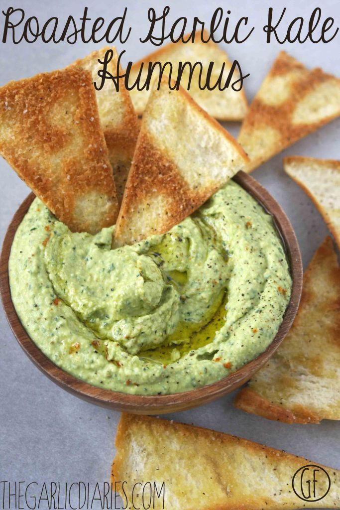 Roasted Garlic Kale Hummus -- TheGarlicDiaries.com