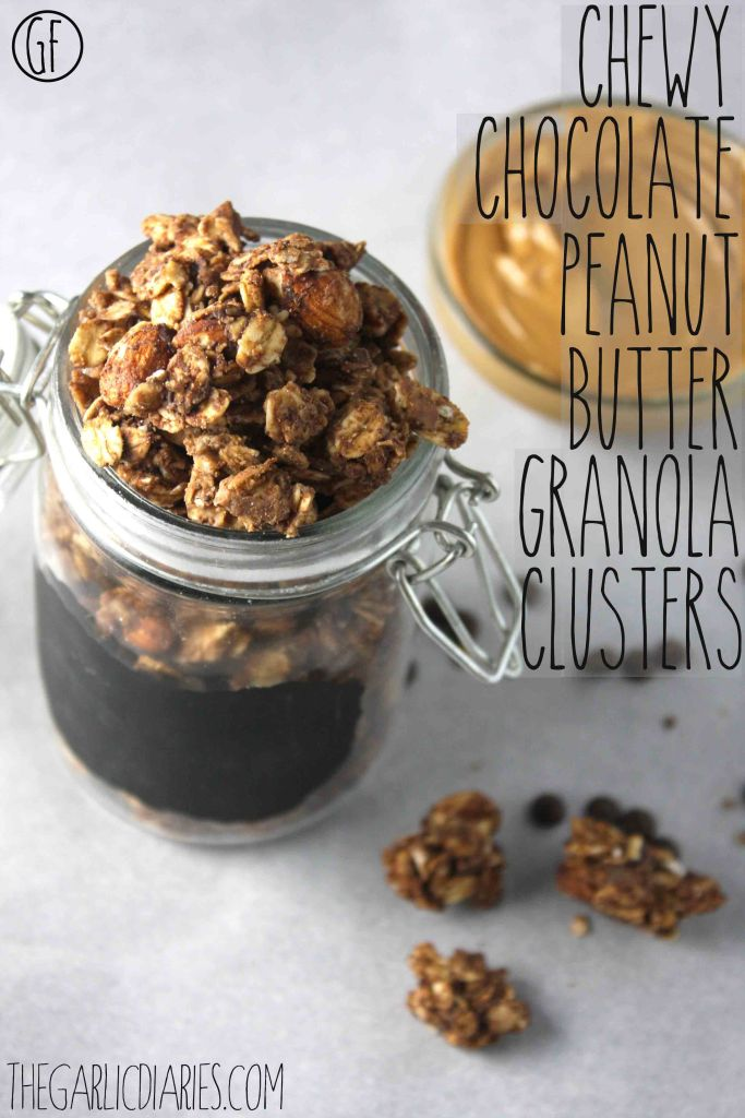 Chewy Chocolate Peanut Butter Granola Clusters -- TheGarlicDiaries
