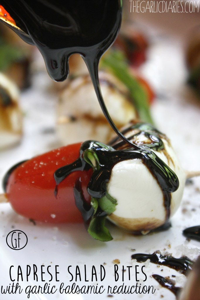 Caprese Salad Bites with Garlic Balsamic Reduction -- TheGarlicDiaries.com