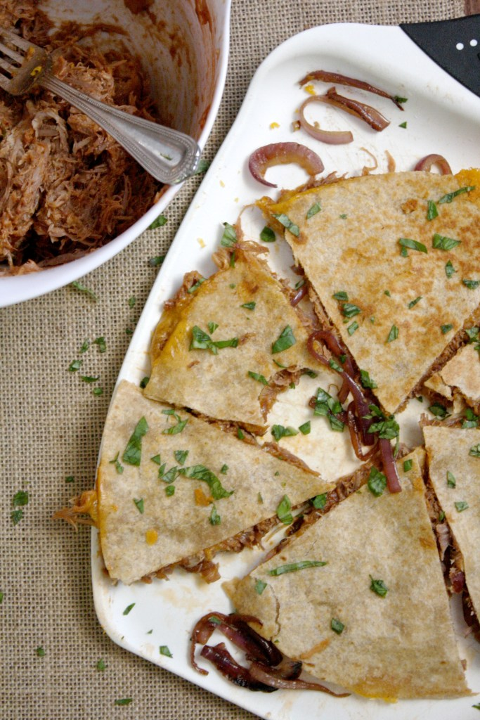 BBQ Pulled Pork Quesadillas -- TheGarlicDiaries.com