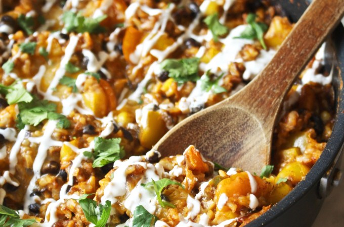 Healthy, Cheesy Taco Skillet