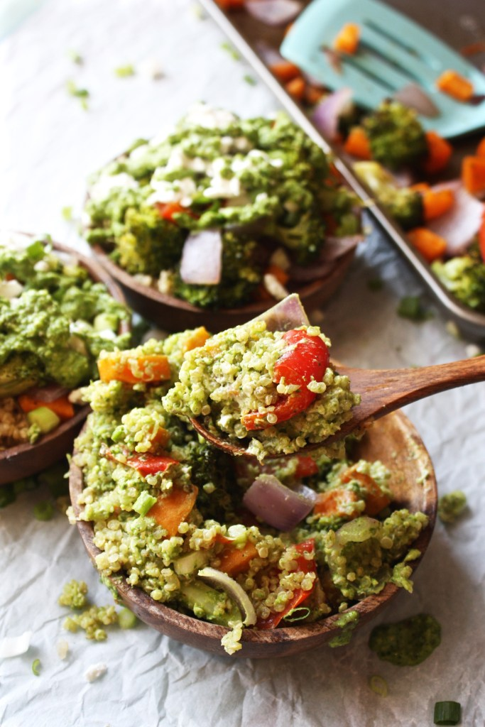 Veggie Power Bowls with Creamy Pesto Sauce - These healthy bowls are packed with roasted veggies, quinoa, and a delicious, easy, creamy spinach arugula pesto! Gluten free. TheGarlicDiaries.com