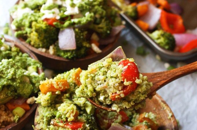 Veggie Power Bowls with Creamy Pesto Sauce