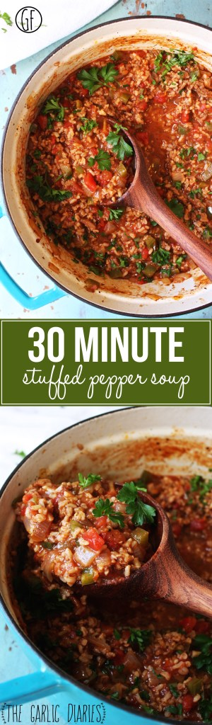 30 Minute Stuffed Pepper Soup - This stuff is seriously easy and seriously delicious! A few simple tricks make the soup taste like it's been simmering for hours. #soupsundaycollab #glutenfree -- TheGarlicDiaries.com