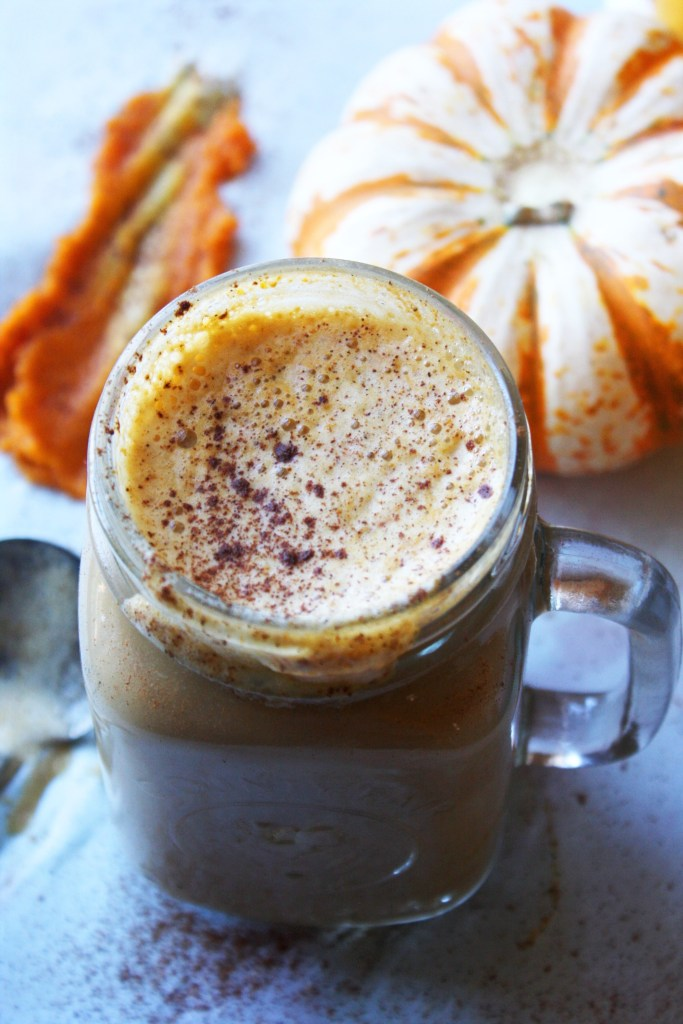 SKINNY Pumpkin Spice Latte! Super simple to make, half the calories as the Starbucks version, and even more delicious :). The perfect warm and comforting fall beverage! -- TheGarlicDiaries.com