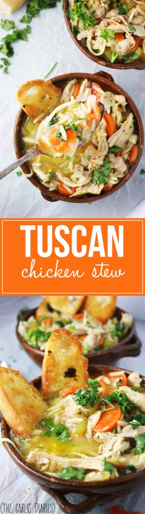 "Tuscan Chicken Stew + Our ""Mary's Secret Ingredient"" Box! This comforting stew is layered and layered with delicious, tuscan flavor! You can't beat it :) -- TheGarlicDiaries.com"