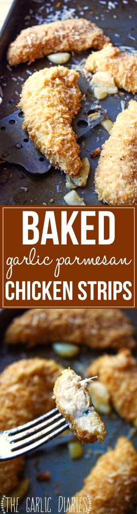 Baked Garlic Parmesan Chicken Strips - This quick and easy recipe is super simple and has the most amazing garlic parmesan flavor! Ready in 30 minutes, you'll never be able to tell these chicken strips are baked and not fried -- TheGarlicDiaries.com