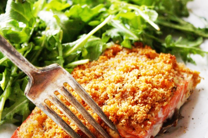 Dijon Crusted Salmon with Simple Arugula Salad [21 Day Fix]