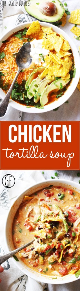 Chicken Tortilla Soup - This soup is so easy and SO yummy! It's all about those toppings, so pile 'em on! This will be a new family favorite in your home, and (bonus) it's gluten free :). TheGarlicDiaries.com