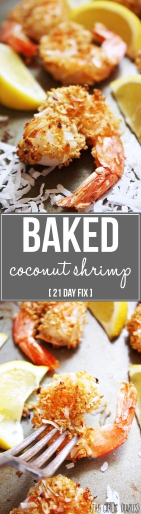 Baked Coconut Shrimp [21 Day Fix] - These crunchy, lightly breaded shrimp pack so much delicious flavor! They are so addicting - I could eat them for every meal! TheGarlicDiaries