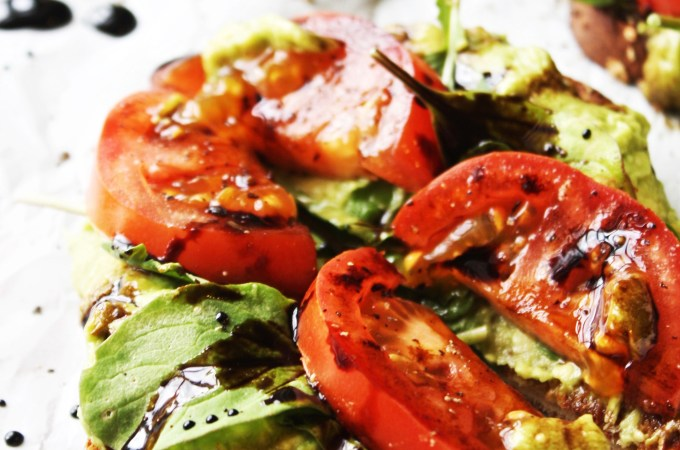 Avocado, Arugula, and Tomato Toasts with Easy Balsamic Syrup