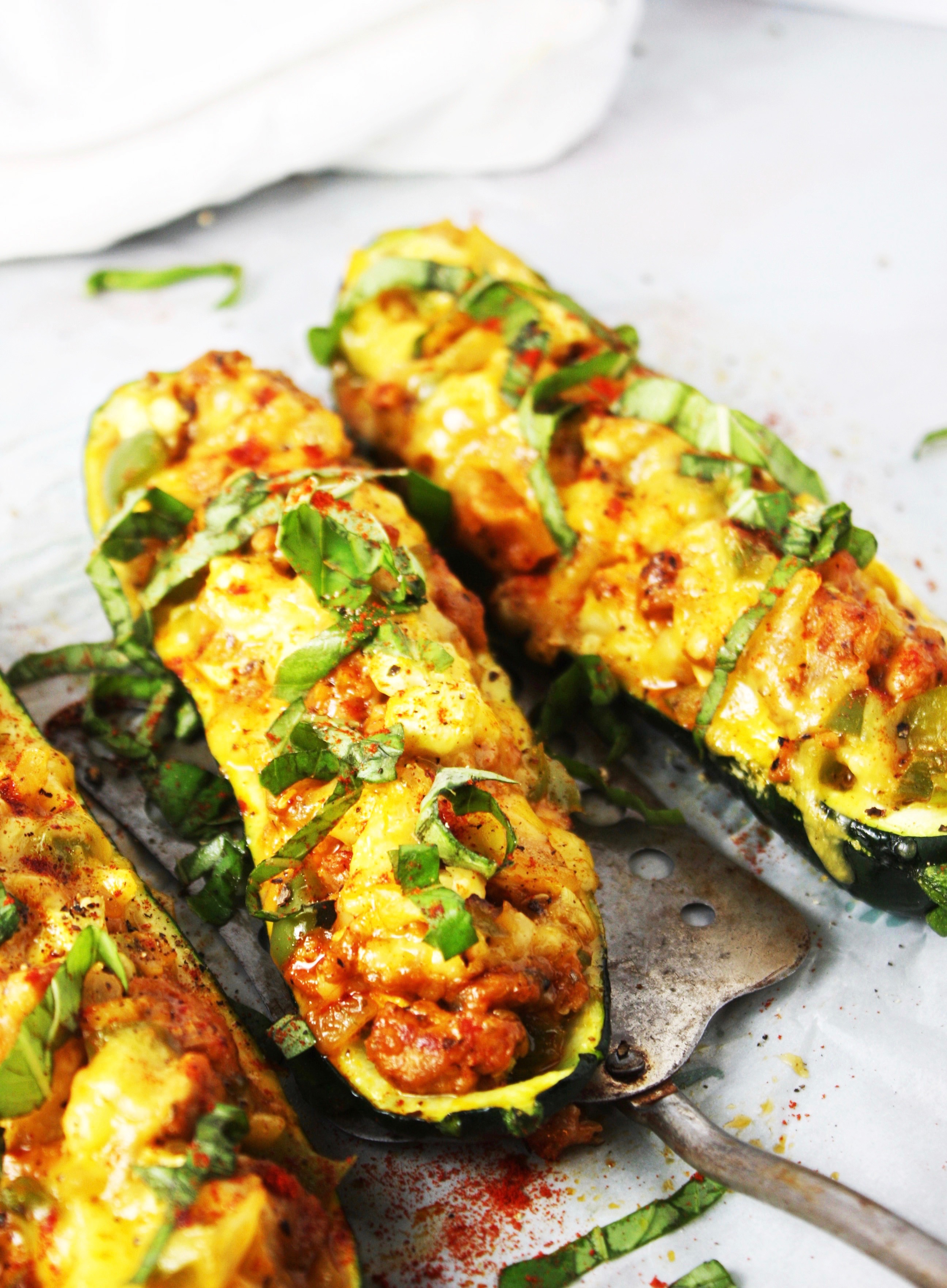 Cheddar and Sausage Stuffed Zucchini Boats