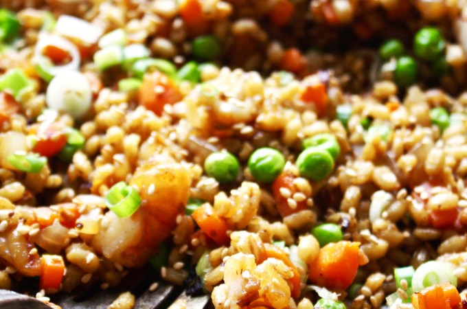 Barley Fried Rice with Marinated Shrimp
