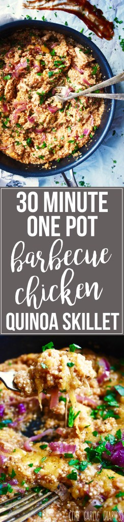 30 Minute One Pot Barbecue Chicken Quinoa Skillet - This dish has all the flavors of your favorite BBQ Chicken Pizza, but in skillet form with quinoa instead of pizza crust! TheGarlicDiaries.com