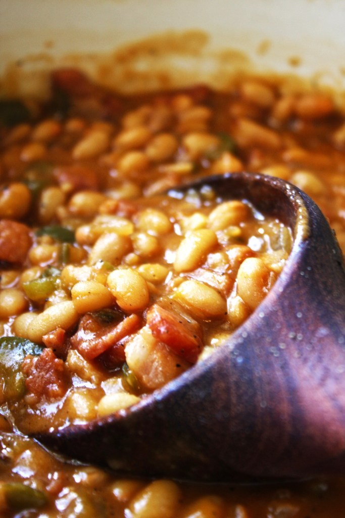 Brown Sugar Maple Baked Beans - These simple, homemade baked beans will make you turn away from the canned versions forever! TheGarlicDiaries.com