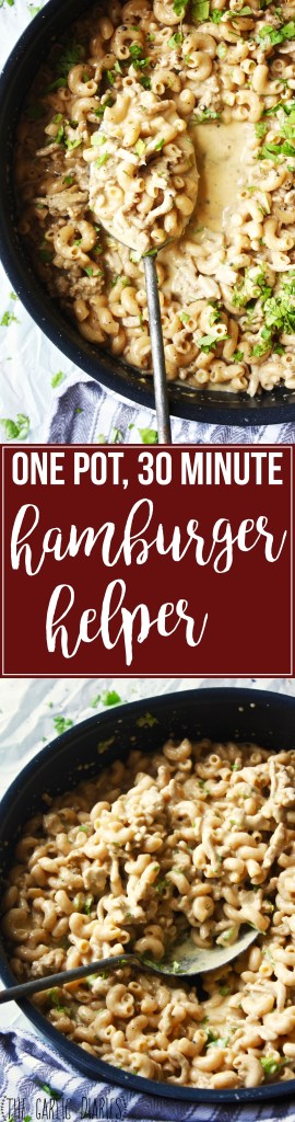 30 Minute One Pot Hamburger Helper - Ditch the boxed stuff with ingredients you can't even pronounce and make this SUPER simple, quick, and healthier version! TheGarlicDiaries.com