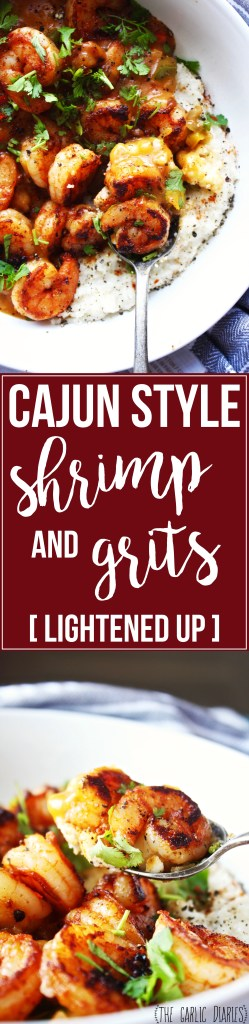 Cajun Style Shrimp and Grits [Lightened Up] - These shrimp and grits are absolutely loaded with delicious flavor, and a few tricks make this classic comfort food a little more guilt free!