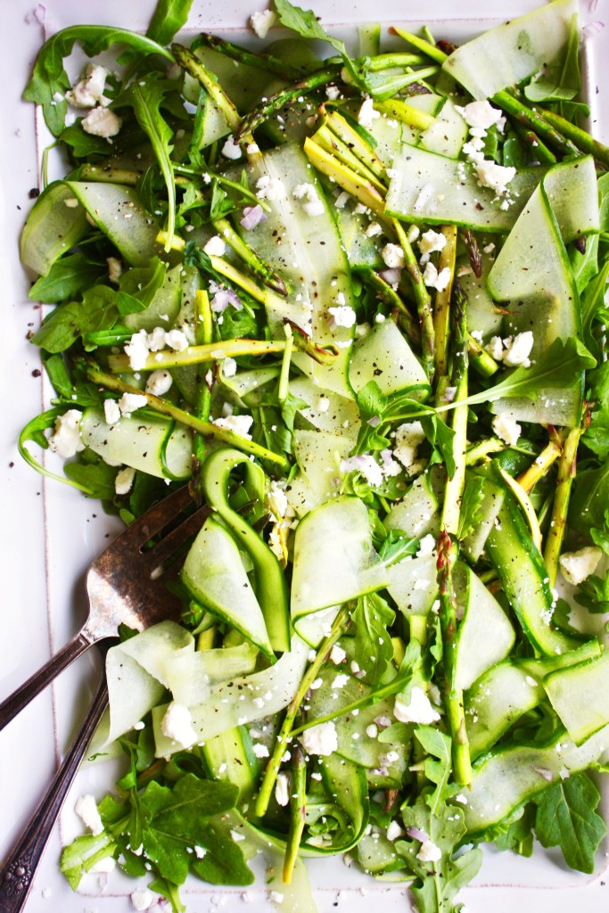 The Most BOSS Salad of All Time - Made with lightly roasted asparagus, arugula, and cucumber ribbons, this quick and simple salad could not get any better. I could eat it every day! #glutenfree #vegetarian TheGarlicDiaries.com
