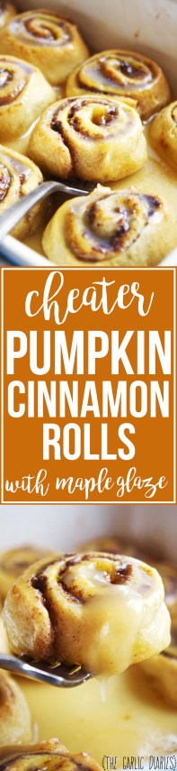 Cheater Pumpkin Cinnamon Rolls with Maple Glaze - These rolls come together in thirty minutes, and they are JUST as good if not better than made-from-scratch cinnamon rolls. No one will know you cheated! TheGarlicDiaries.com