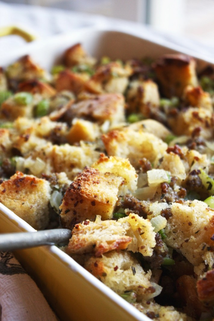 Ciabatta and Pork Sausage Stuffing - Say goodbye to your wet, soggy, over-herbed stuffing, and say hello to this perfectly moist, flavorful, rustic ciabatta stuffing instead! It will be a favorite in your Thanksgiving spread - TheGarlicDiaries.com