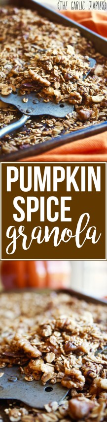 Pumpkin Spice Granola - Celebrate fall with this healthy, crunchy, flavor packed snack! This granola has the most amazing texture and is loaded with extra goodness like quinoa and flax seed. You'll love it! #glutenfree TheGarlicDiaries.com