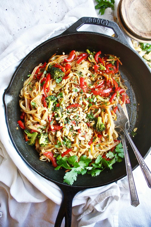 Rainbow Veggie Rice Noodle Stir Fry