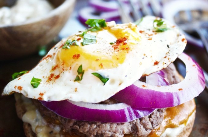 Open Faced Fried Egg Burgers with Green Chili Mayo
