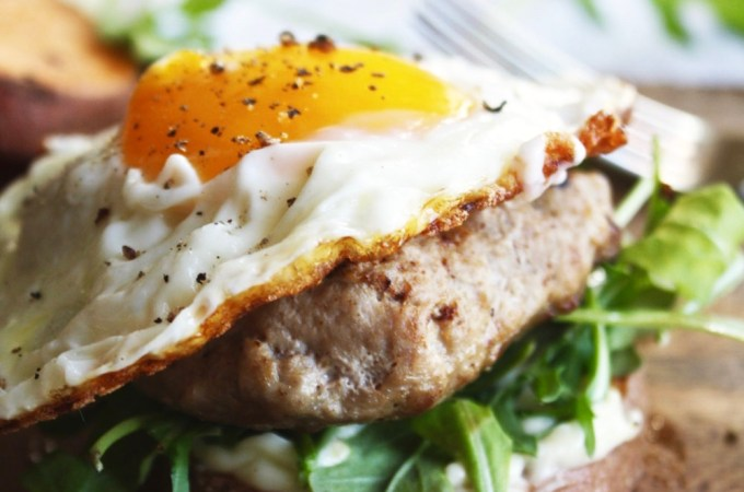 "Fried Egg Turkey Burgers with Sweet Potato ""Buns"""