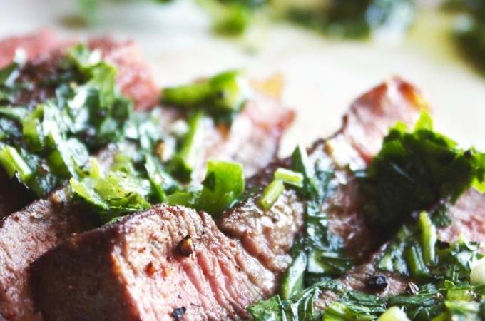 Cocoa and Chili Crusted Steak with Jalapeno Chimichurri