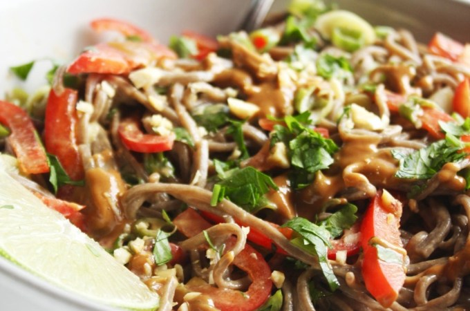 Loaded Veggie Soba Noodles with Peanut Sauce