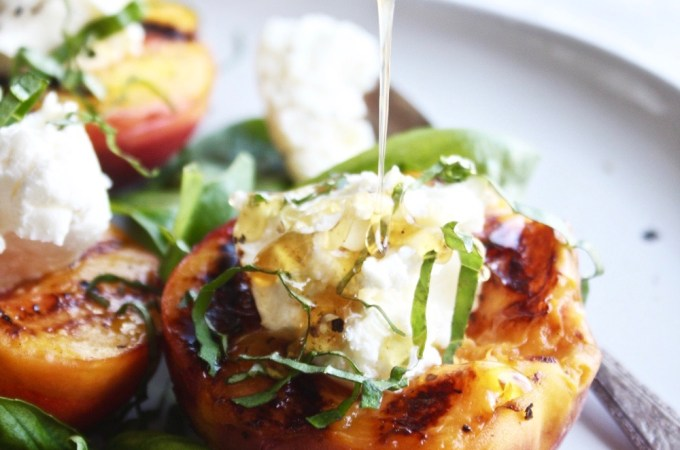 Stuffed Grilled Peaches with Black Pepper Honey