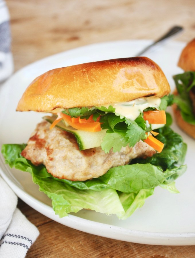 Banh Mi Turkey Burgers! Seriously the best turkey burger you will ever eat. So many different and delicious flavors and textures happening! TheGarlicDiaries.com