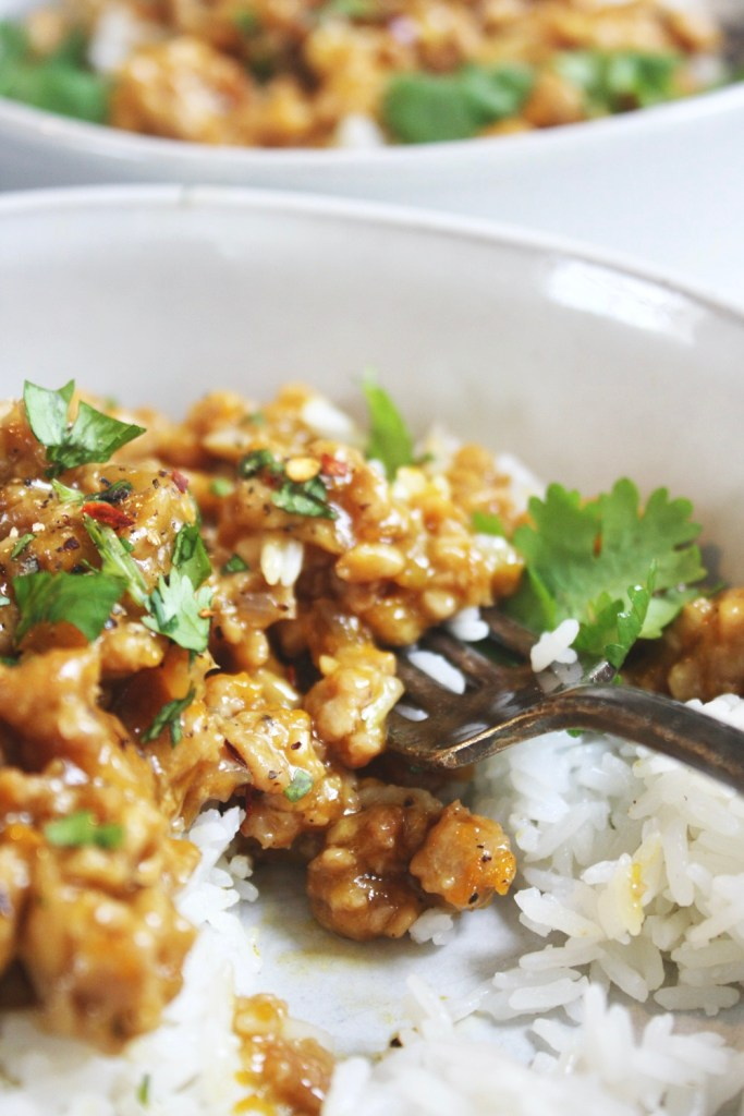 Ground Orange Chicken - This super simple and quick weeknight recipe is loaded with flavor. It'll be a new family fave! TheGarlicDiaries.com