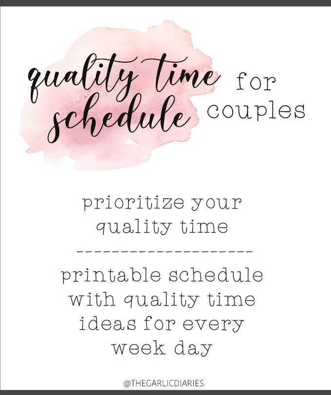 Quality Time Schedule for Couples - Prioritize your quality time with your partner instead of scrolling through social media and realizing it's almost time to go to bed! This downloadable, printable schedule will give you varied, intentional quality time ideas for every week night!