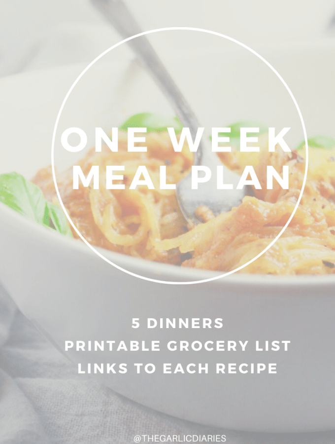 This one week meal plan includes 5 dinners, links to each recipe, and a printable grocery list! Let me make your meal planning easy for you!
