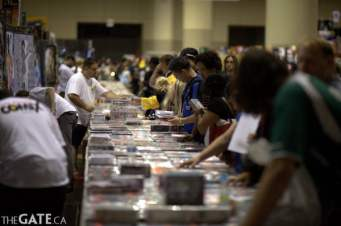 People check out vendor wares