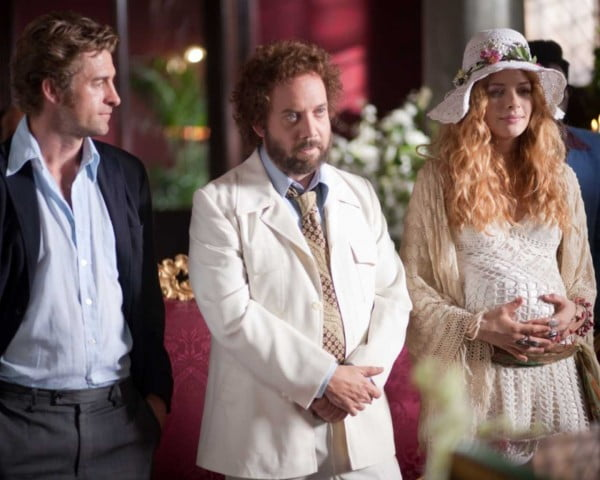 Scott Speedman, Paul Giamatti, and Rachelle Lefevre in a scene from Barney's Version