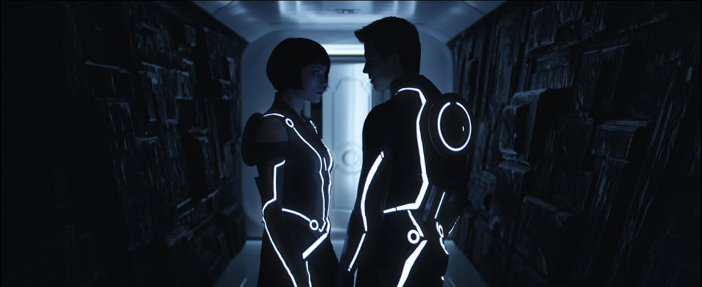 Olivia Wilde and Garrett Hedlund in Tron Legacy