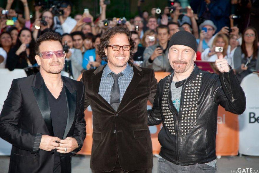 Bono, Davis Guggenheim and The Edge on the red carpet