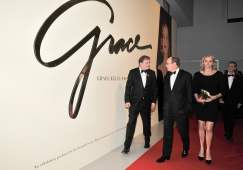 Red carpet at the Grace Kelly exhibit