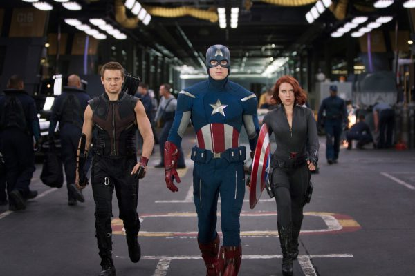 Jeremy Renner, Chris Evans and Scarlett Johansson