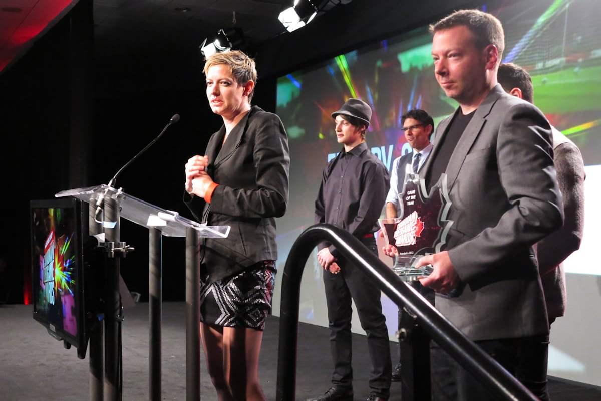 An emotional Anne Gibeault accepts the Game of the Year award for Far Cry 3